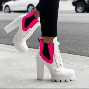 White booties with neon pink!